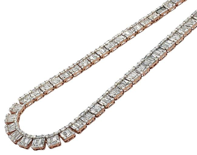"Jewelry Unlimited 14k Rose Gold Vs Diamond 8mm Baguette Tennis Chain 21"" 33.5 Ct Necklace Jewelry Unlimited 14k Rose Gold Vs Diamond 8mm Baguette Tennis Chain 21"" 33.5 Ct Necklace Image 1"