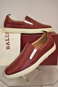 Bally Red Orniel Leather Low Top Logo Slip On Sneakers 8.5 Us 41.5 Shoes