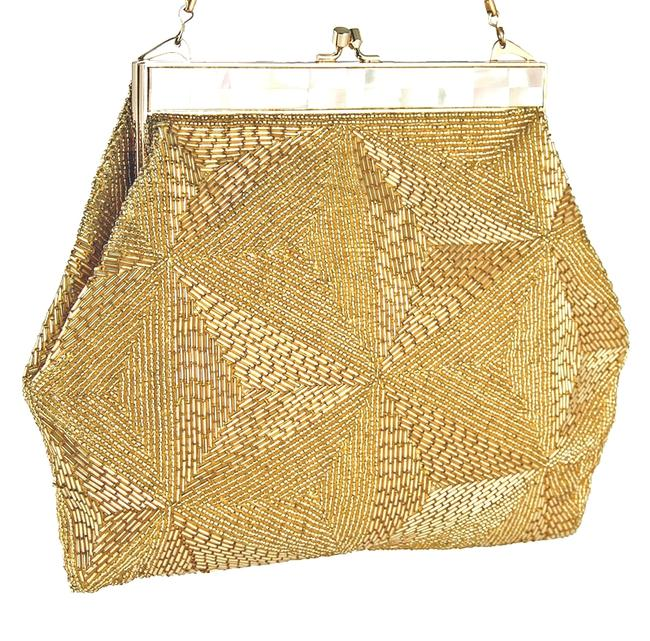 Beaded and Mop Purse Gold Glass Beads Wristlet Beaded and Mop Purse Gold Glass Beads Wristlet Image 1