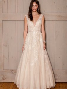 116a3be3d8a63 Melissa Sweet Champagne Tulle Satin Floral with V-neck Ms251151 Modern Wedding  Dress Size 6
