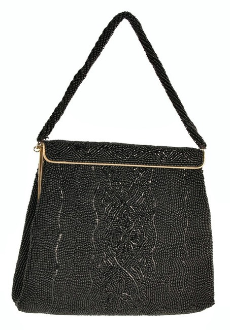 Walborg Glass Beaded Evening Purse Black Beading Silk Satchel Walborg Glass Beaded Evening Purse Black Beading Silk Satchel Image 1