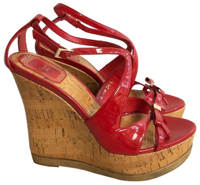 Item - Red Christian Patent Leather Sandals Wedges Size EU 36.5 (Approx. US 6.5) Regular (M, B)