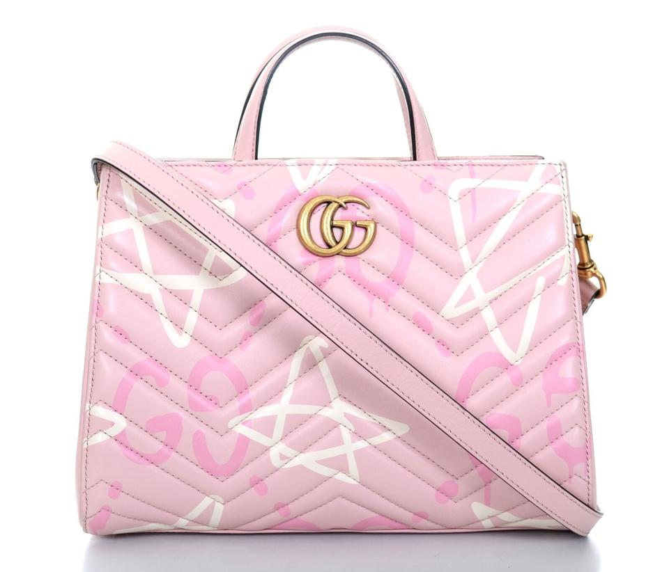33f074df8cfa95 Gucci Shoulder Marmont Ghost Matelasse Small Gg Tote Purse Pink Leather  Cross Body Bag