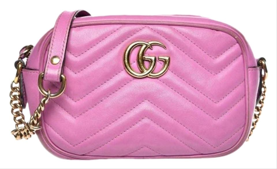 4b5274030 Gucci Marmont Mini Matelasse Gg Pink Leather Cross Body Bag - Tradesy
