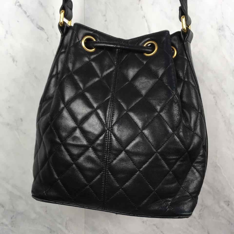 cd4087e3e2c4 Chanel Bucket Vintage Quilted Caviar Small Black Leather Shoulder Bag -  Tradesy