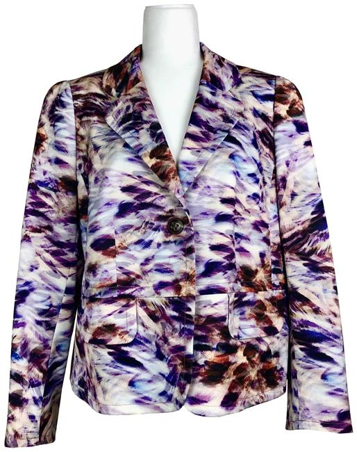 Item - Purple Notch-lapel Abstract Print Blazer Size 12 (L)