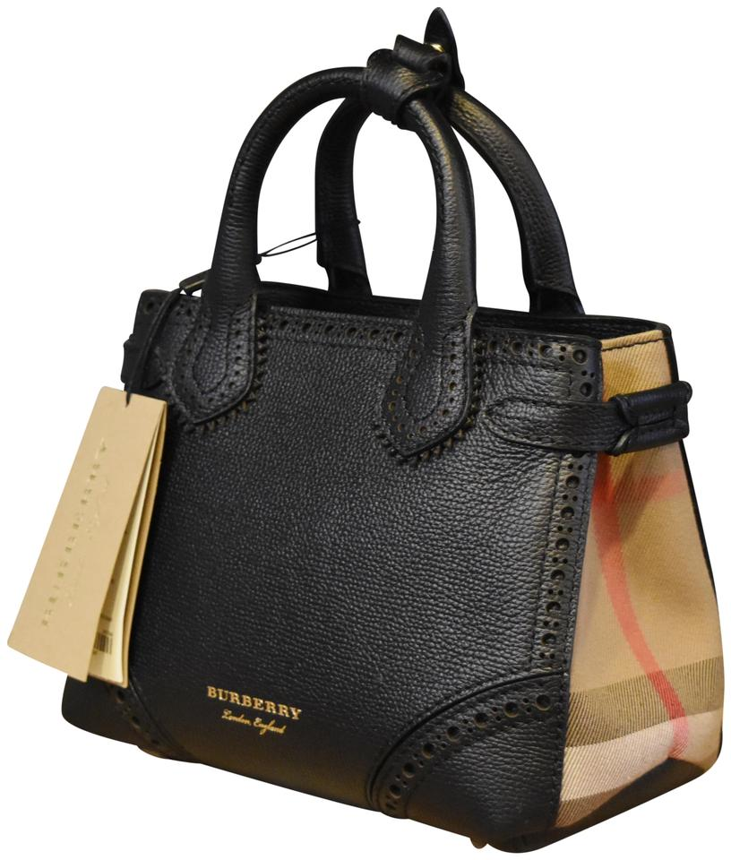 9119436d08 Burberry House Check Baby Banner Tote Black Calfskin Leather Cross ...