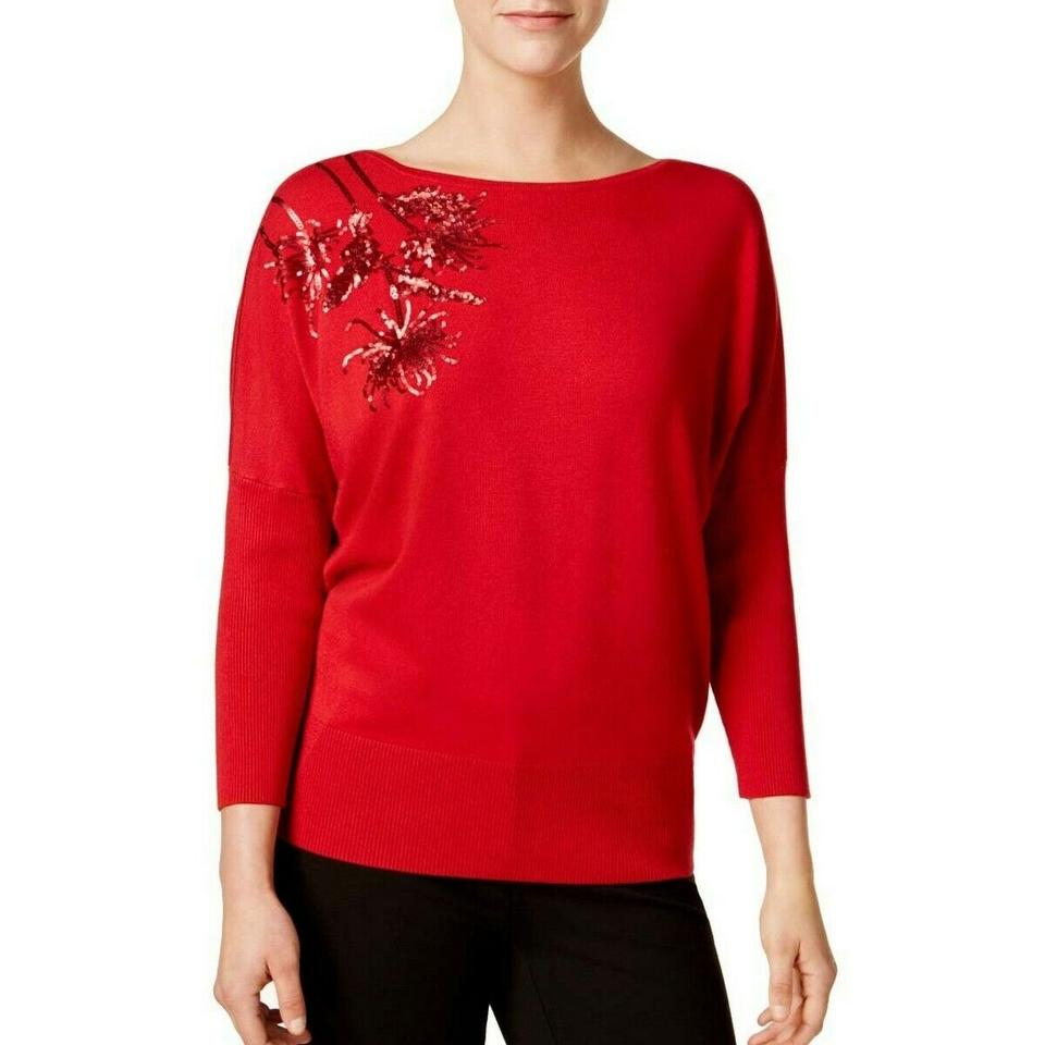 9d2dc8c529e09 Alfani Women s Sequined Embroidered Dolman-sleeve (Banner Red ...