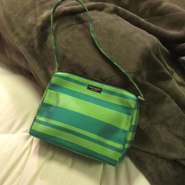 Kate Spade Everyday Spring and Kelly Green Stripes. Raw Silk Shoulder Bag Kate Spade Everyday Spring and Kelly Green Stripes. Raw Silk Shoulder Bag Image 1