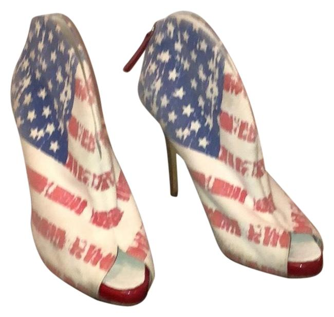 Item - Red White Blue Marines Stampa Platforms Size EU 37 (Approx. US 7) Narrow (Aa, N)