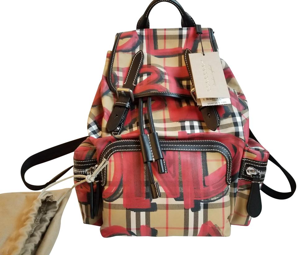 42046dd21a49 Burberry Medium Graffiti Print Vintage Check and Leather Rucksack Antique  Yellow Red Canvas Backpack