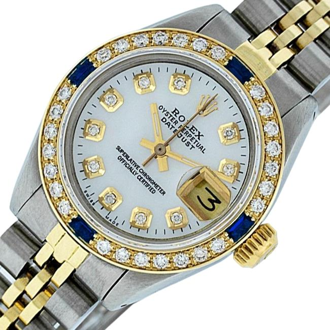 Rolex White Ladies Datejust Stainless Steel with Mop Diamond Dial Watch Rolex White Ladies Datejust Stainless Steel with Mop Diamond Dial Watch Image 1