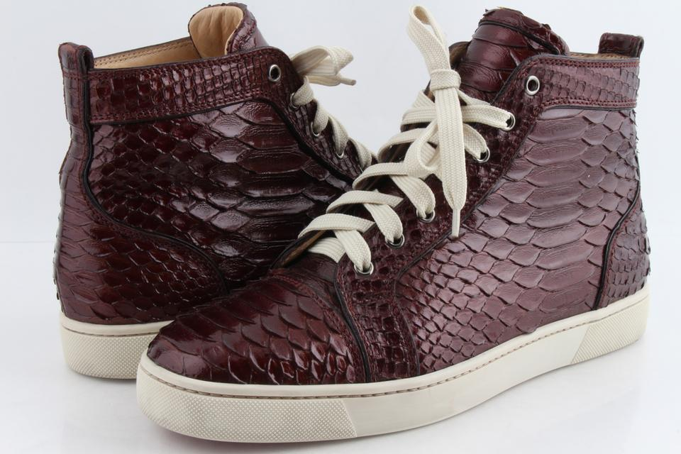 designer fashion ad883 ff114 Christian Louboutin Red Louis Python Crystal Lame Men Sneakers Shoes 28%  off retail