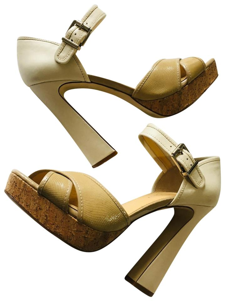 562a7a838d1 GB Tan Cream Gianni Bini Leather Open Toe Cork Heels Strappy Sandals  Platforms Size US 9.5 Regular (M, B) 53% off retail