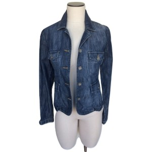 Level 99 Distressed Buttons Collared Womens Jean Jacket