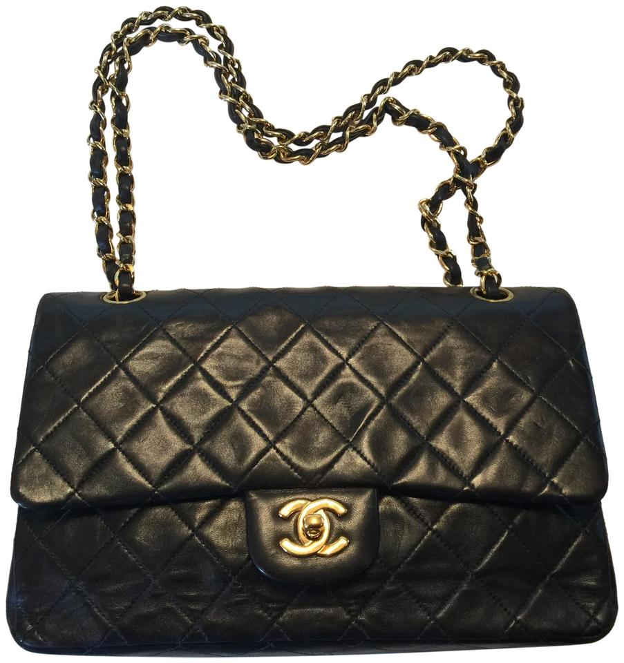 a153c8d493f8 Chanel Classic Flap Quilted Black & Gold Lambskin Leather Shoulder Bag