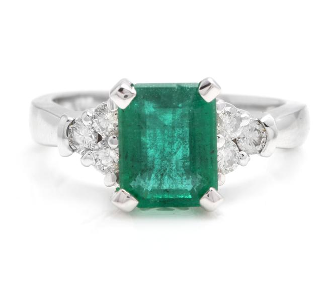White Gold 2.90ct Natural Emerald & Diamond 14k Solid Ring White Gold 2.90ct Natural Emerald & Diamond 14k Solid Ring Image 1