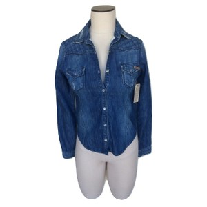 Divine Rights of Denim Distressed Snap Buttons Collar Pockets Button Down Shirt Blue