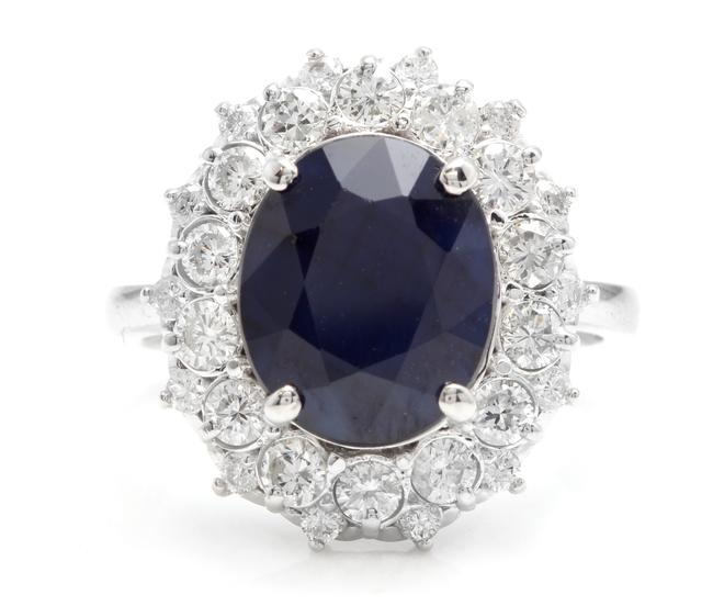 White Gold 8.80ct Natural Blue Sapphire & Diamond 14k Ring White Gold 8.80ct Natural Blue Sapphire & Diamond 14k Ring Image 1