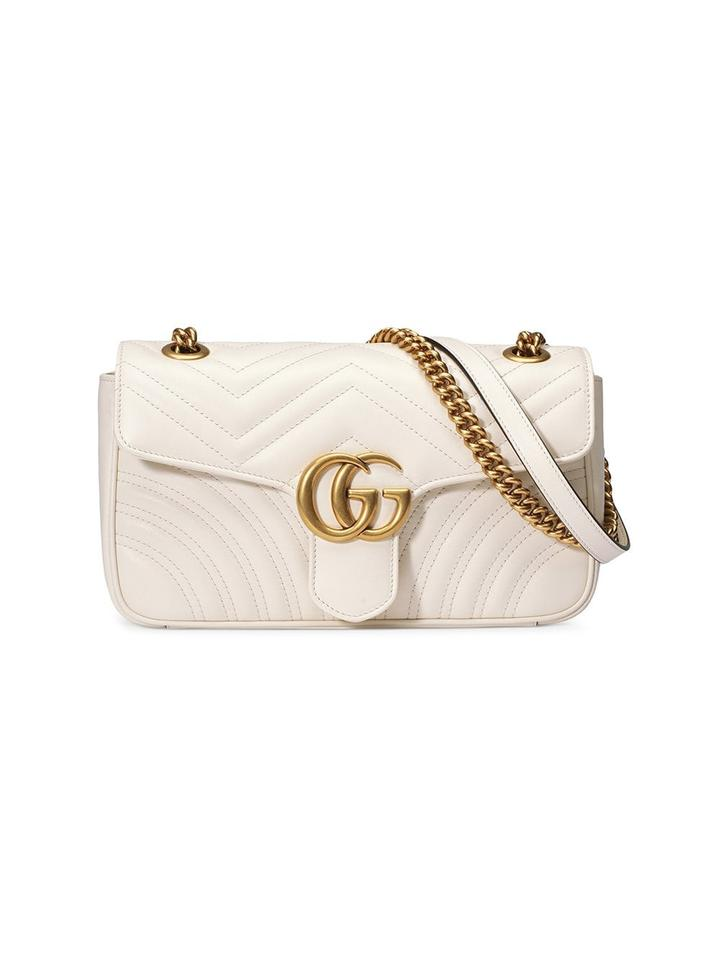 c59fb1bf3f2a Gucci Marmont New Small Matelasse White Leather Shoulder Bag - Tradesy