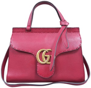 Gucci Marmont Mini Top Handle Satchel in Red