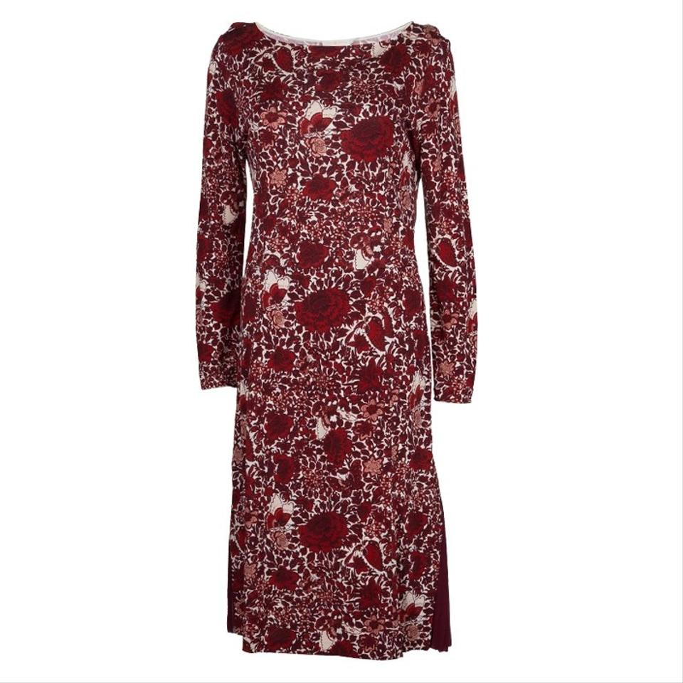 215c2177791 Tory Burch Red Jersey Floral Printed Long Sleeve Mid-length Casual ...