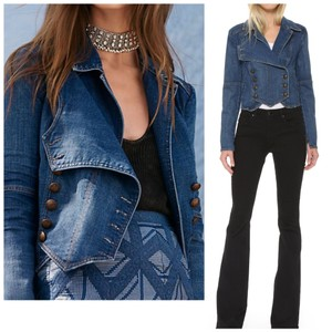 8db2e414c9 Free People Double Breasted Military blue Womens Jean Jacket
