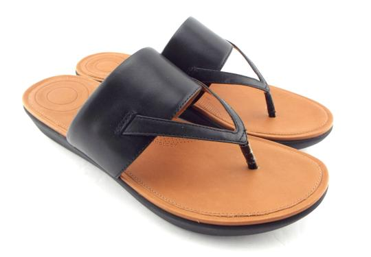 3161b02accc3 FitFlop Black Leather Thong Sandals Size US 9 Regular (M