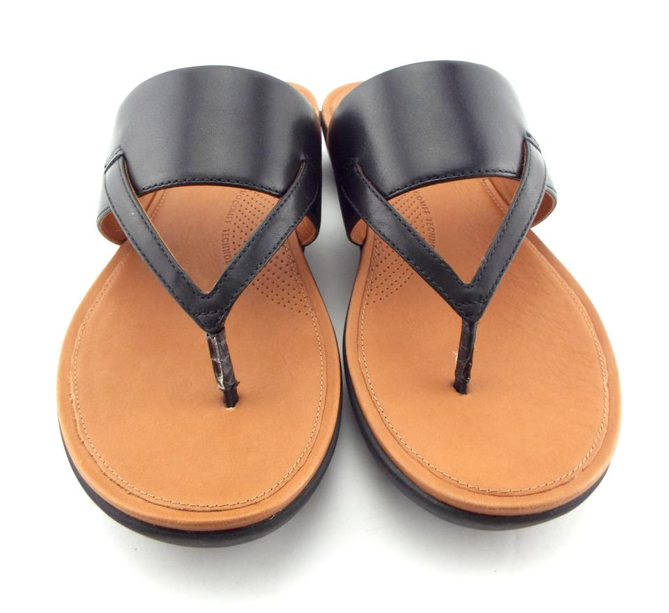c80ccc592f2966 FitFlop Black Leather Thong Sandals Size US 9 Regular (M