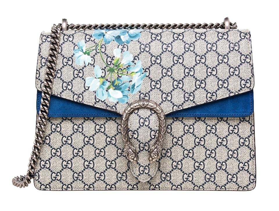 22a8617c67d Gucci Dionysus Medium Blooms Blue Gg Supreme Canvas Suede Shoulder ...