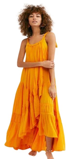 Item - Tangerine XL Bare It All Tiered Ruffle Endless Summer Long Casual Maxi Dress Size 14 (L)