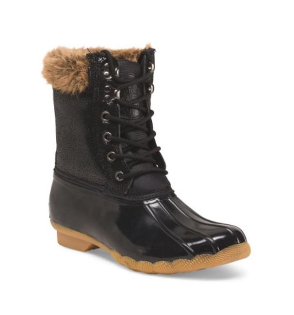 Item - Black Faux Fur Lined Weather Snow Duck Boots/Booties Size US 7 Regular (M, B)