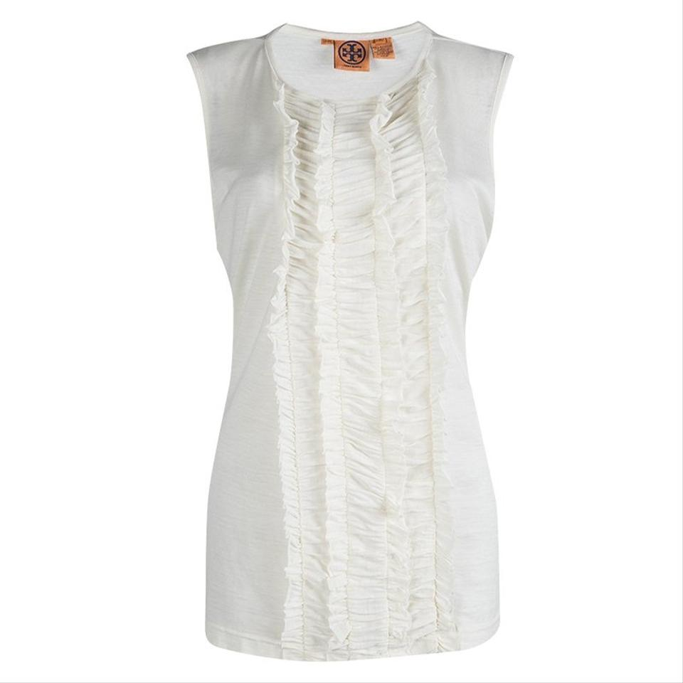 b6385ff473b Tory Burch White Off Ruffle Front Detail Sleeveless Xl Blouse Size ...