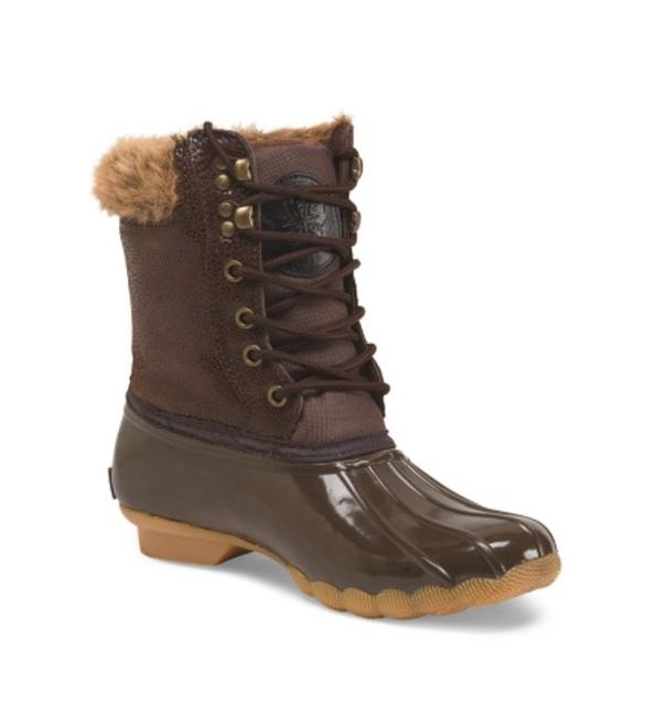 Item - Brown Faux Fur Lined Weather Snow Duck Boots/Booties Size US 6 Regular (M, B)