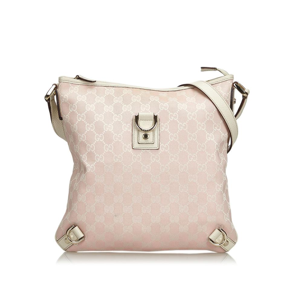 b6cb45e07f5 Gucci Abbey Gg Jacquard Pink Blend Leather Cross Body Bag - Tradesy