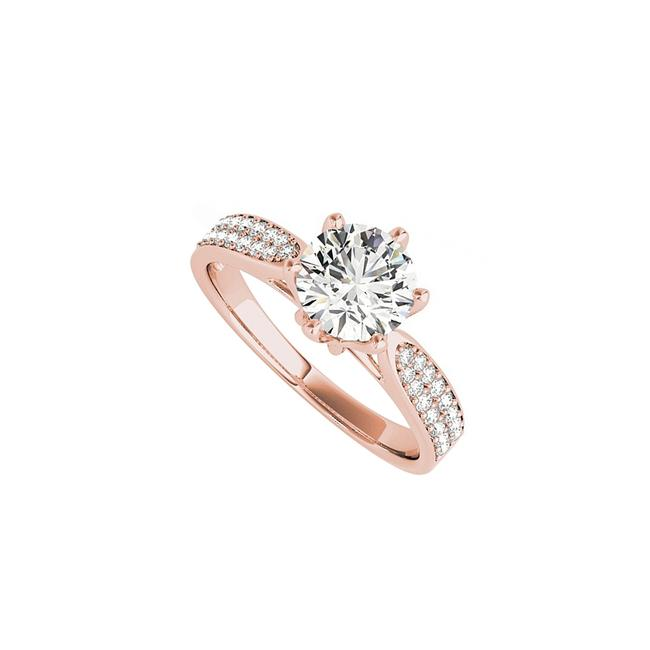 White Cubic Zirconia Accented Engagement In Rose Gold Ring White Cubic Zirconia Accented Engagement In Rose Gold Ring Image 1