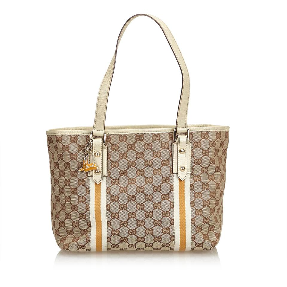 946299efebc582 Gucci Jolicoeur Bag Gg Jacquard Brown Blend Leather Tote - Tradesy