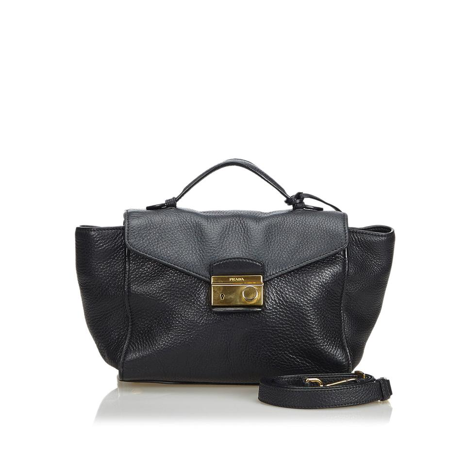 6661ad20b55acd Prada Vitello Daino Black Leather Satchel - Tradesy