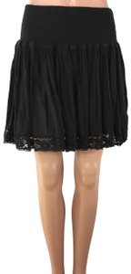 London Jean Lace Fit And Flare Mini Skirt Black