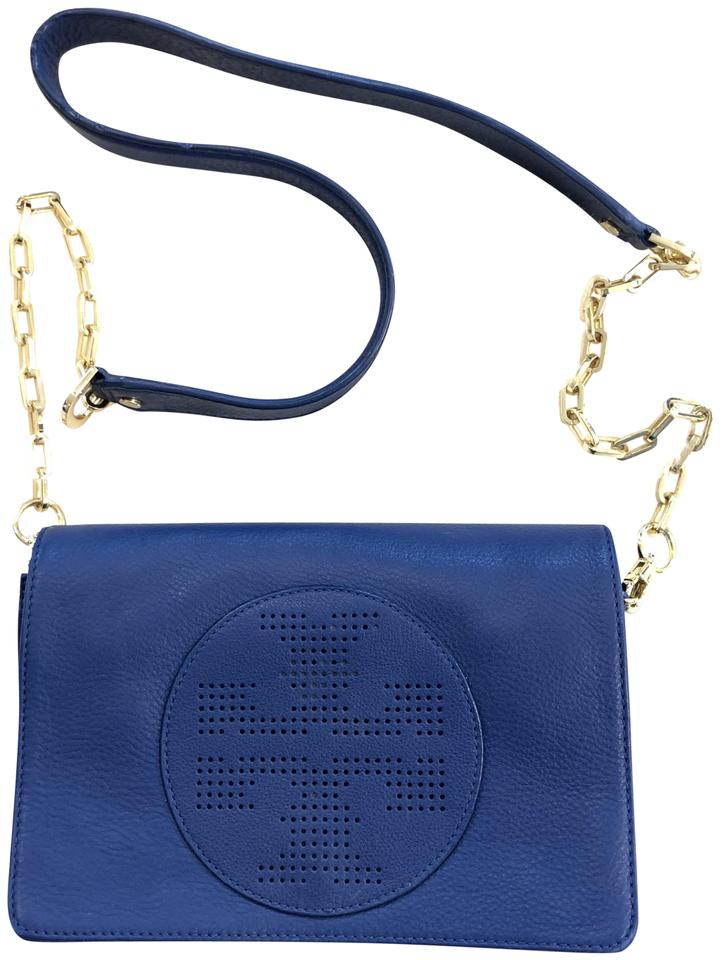 912aef33e88 Tory Burch Perforated Logo Flap Royal Navy Blue Leather Cross Body ...