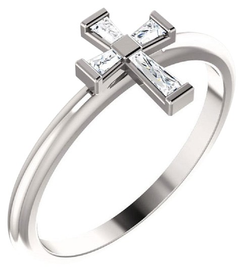 Preload https://img-static.tradesy.com/item/25022515/apples-of-gold-diamond-baguette-cross-for-women-in-14k-white-ring-0-1-540-540.jpg
