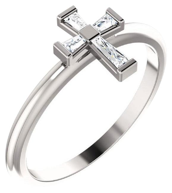 Apples of Gold Diamond Baguette Cross For Women In 14k White Ring Apples of Gold Diamond Baguette Cross For Women In 14k White Ring Image 1