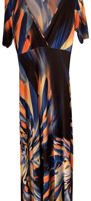 Item - Royal Blue Neon Yellow Orange Black Colorful Short Sleeve Long Casual Maxi Dress Size 6 (S)