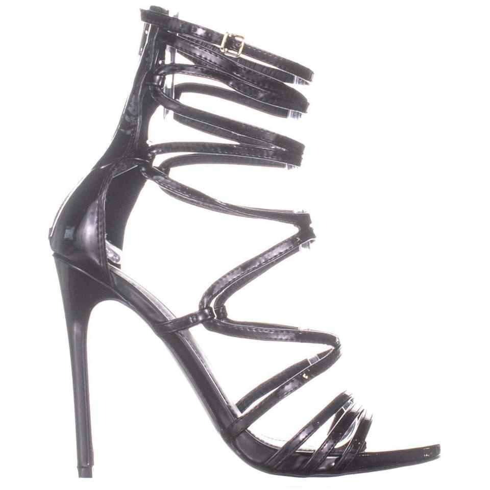 0581c4d1279 Steve Madden Black Strappy Heeled Sandals 899 Patent Pumps Size US 9.5  Regular (M, B) 52% off retail