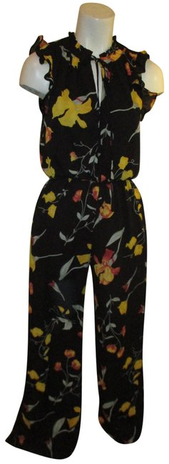 Item - Black Multi Sleeveless Ruffled Floral Print Romper/Jumpsuit