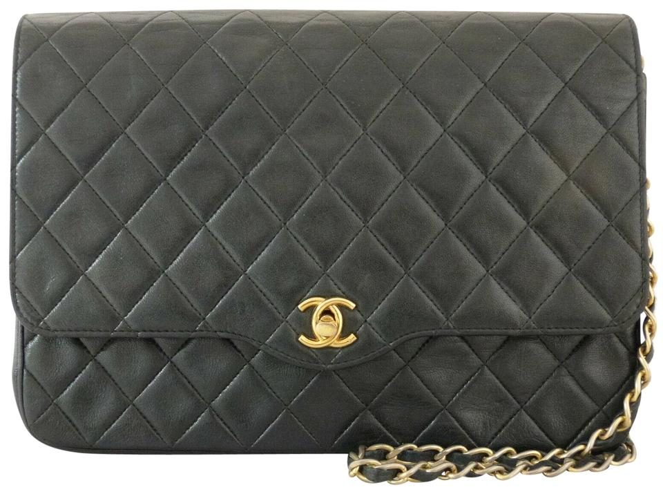 88131759da8d47 Chanel Classic Vintage Cc Quilted Flap Turn Lock Black Lambskin ...