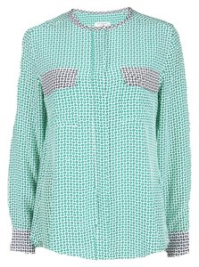 Equipment Green Printed Contrast Trim Detail Long Sleeve Silk Blouse M