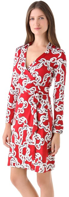 Item - Red White Gray Jeanne Two Chains Short Work/Office Dress Size 2 (XS)