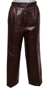 Hermès Leather Leather Leather Vintage Straight Pants Brown