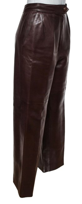 Hermès Leather Leather Leather Vintage Straight Pants Brown Image 1